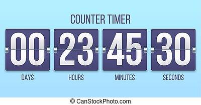 numbers., minutes, horloge, timer., compteur, chiquenaude, illustration, heures, jours, vecteur, temporisateurs, compte rebours, dénombrement, flipclock