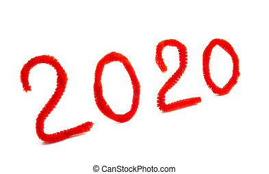 numbers new year 2020 isolated