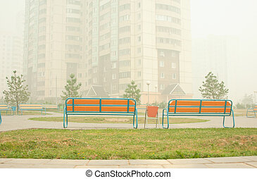 Numbers of benches - A series: the spaces shrouded in a smog...