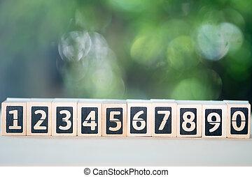 Numbers of wood blocks begin 1 to 0.