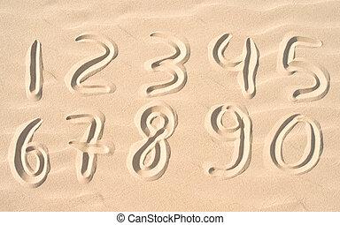 numbers on sand