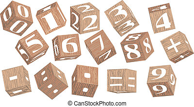 numbers on wooden cubes