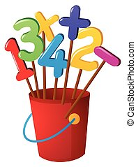 Numbers on wooden stick in red bucket