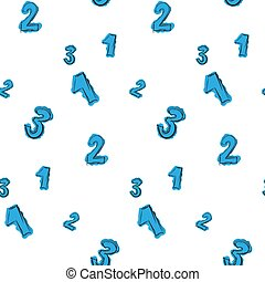 Numbers painted with careless blue color seamless pattern