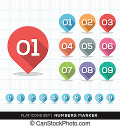 Numbers Pin Marker Flat Icons with long shadow Set for GPS or Map