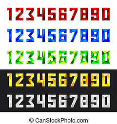 Numbers set 0-9, polygonal style