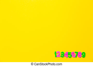Numbers set 1 2 3 4 5 6 7 8 9. Copy space. Colorful plastic numerals isolated on yellow background. Preschool distance education banner. Math online course. Funny count. Primary school. Card