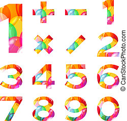 Numbers set, colorful balloons