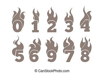 numbers., set, het vlammen, vector, iconen