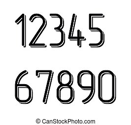 Numbers set hipster, parallel offset thin intersection lines style idea numerals typography design element for wedding invitation, mathematics logo symbols mockup.