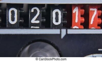 numbers., set, timer., toonbank, aftellen, 2018, jaar, nieuw, 2017, digitale