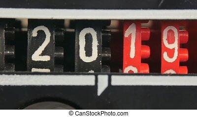 numbers., set, timer., toonbank, jaar, 2019, aftellen, 2020, digitale , nieuw