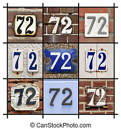 Numbers Seventy-two - Collage of House Numbers Seventy-two