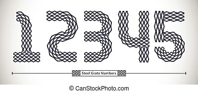 Numbers Steel Grate style in a set 12345