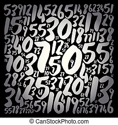 Numbers text cloud collage, concept