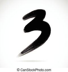 Numbers three written with a brush on a white background