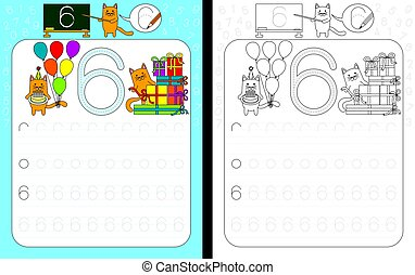 Worksheet for practicing number writing - tracing number 6