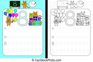 Worksheet for practicing number writing - tracing number 8