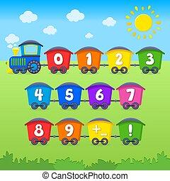 numbers., train., vetorial, educação, caricatura