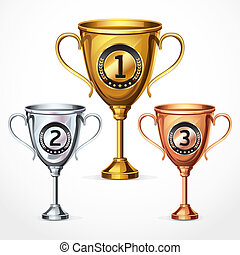 Numbers Trophy Cup Se. vector illustration