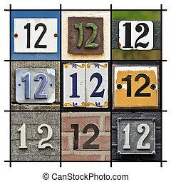 Numbers Twelve - Collage of House Numbers Twelve