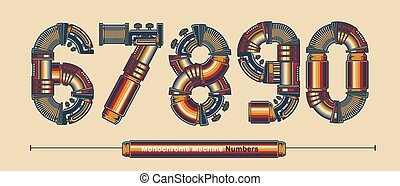 Numbers Typography Monochrome Vintage machine color style in a set 6,7,8,9,0