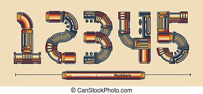 Numbers Typography Monochrome Vintage machine color style in a set YZ