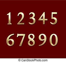 numbers., vecteur, or, illustration