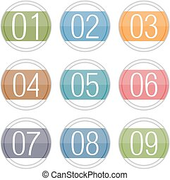Numbers 1 - 9 in circles, vector eps10 illustration