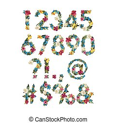 Numbers, Vector Colorful Flower Font For Your Design Vector...