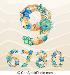 Numbers, vector sea life font on sand background. Check my...