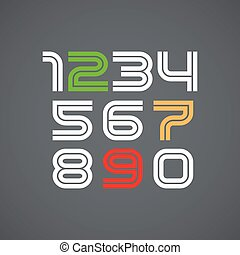 numbers., vektor, schriftart