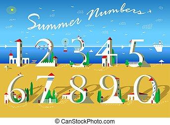 numbers., verão, praia branca, casas