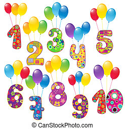 Numbers with balloons