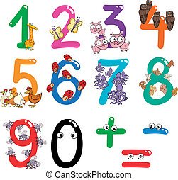 numbers with cartoon animals - cartoon illustration of ...