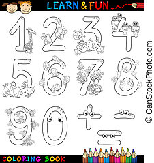 numbers with cartoon animals for coloring - Cartoon Coloring...
