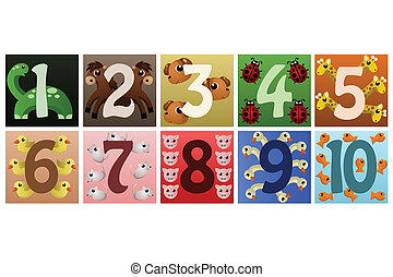 Numbers with cute animals
