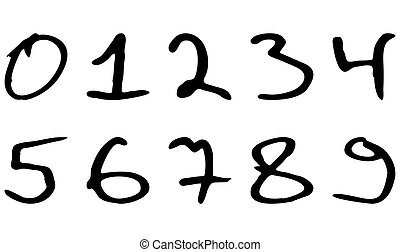 Numbers written marker casually askew vector. Black paint...