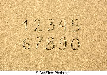 Numbers written on a sandy beach.