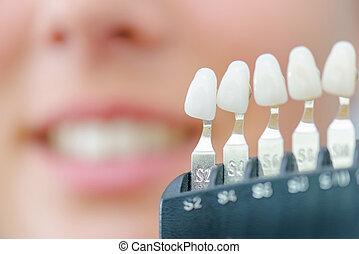 numerado, indivíduo, dentes falsos, para, cor, partida