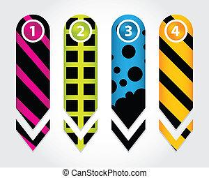 numerado, jogo, botões, seta, adesivos, especiais