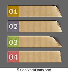 numerado, -, papel, diseño, infographics, banderas