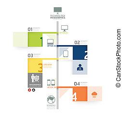 numerado, ser, linha, gráfico, esquema, infographic, tempo, linhas, vetorial, ou, site web, bandeiras, usado, desenho, /, modelo, infographics, cutout, horizontais, lata