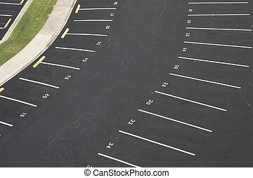 numerado, vacío, terreno, estacionamiento
