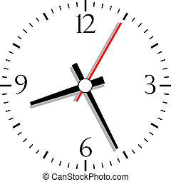 numerado, vector, reloj, ilustración