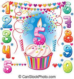 numerado, velas de cumpleaños, y, pastel