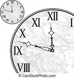 numerais, romana, rosto relógio