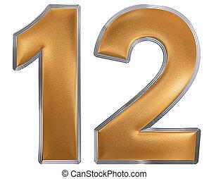 numeral, 12, doze, isolado, branco, fundo, 3d, render