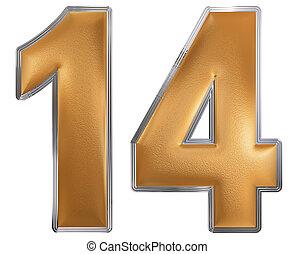 numeral, 14, quatorze, isolado, branco, fundo, 3d, render