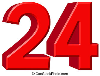 Numeral 24, twenty four, isolated on white background, 3d render